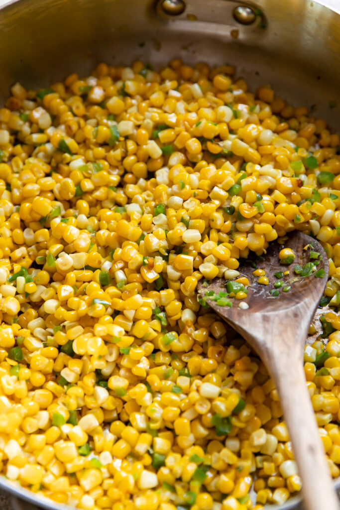 corn and jalapenos in a saute pan.