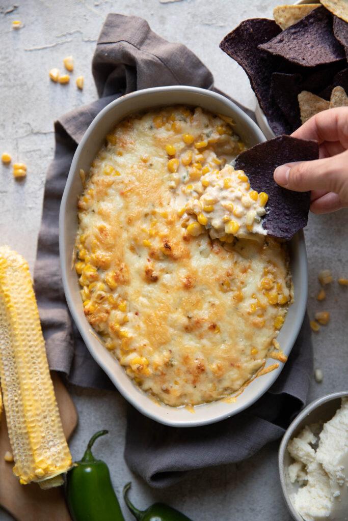 hot mexican street corn dip.