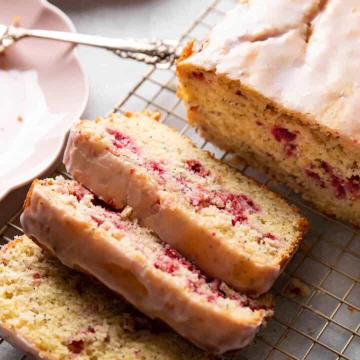 raspberry lemon poppyseed loaf cake.