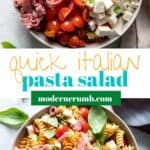 italian pasta salad with salami in a bowl.
