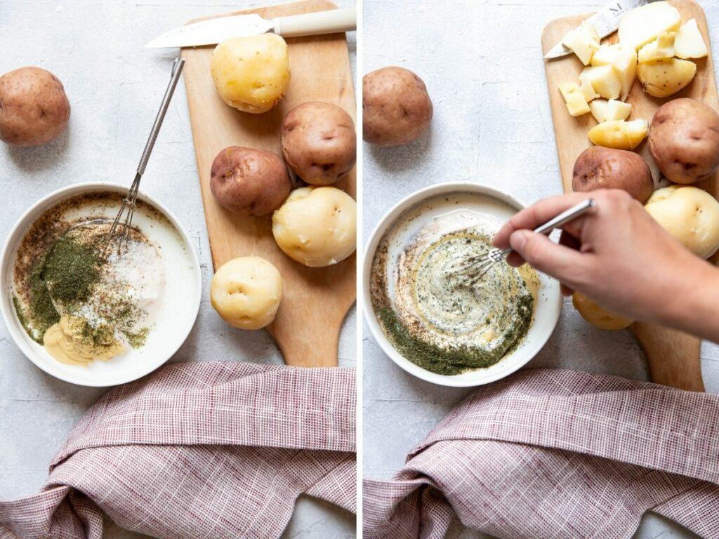 making potato salad dressing collage.