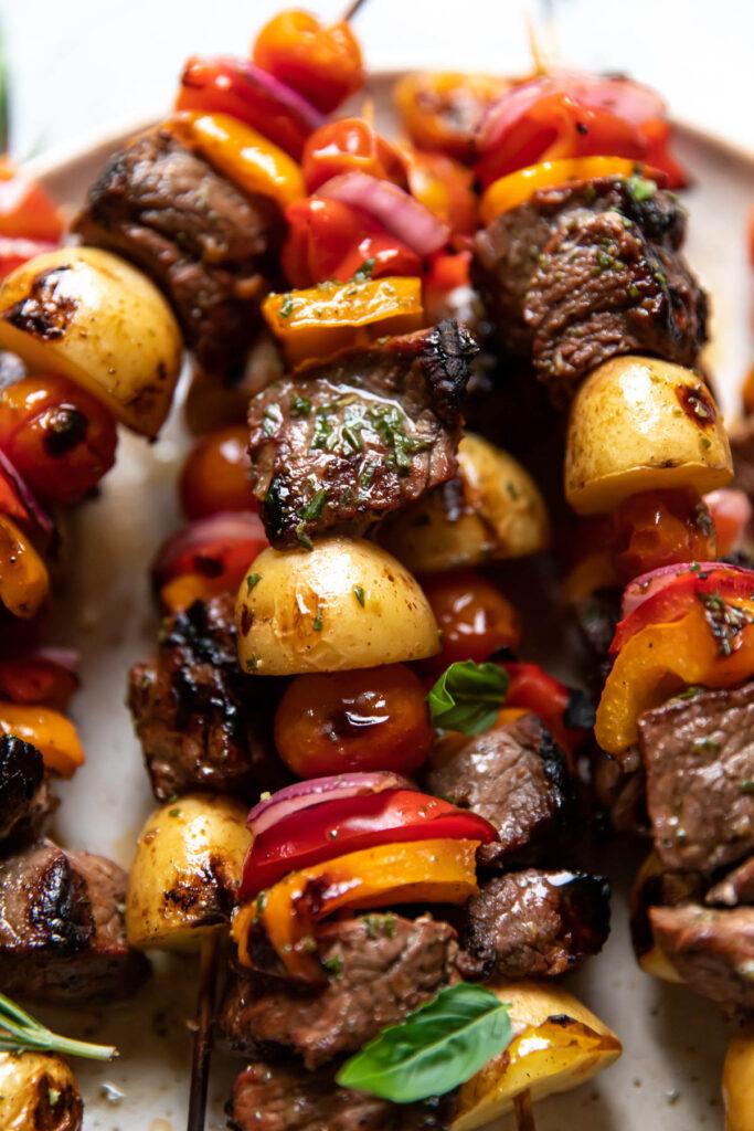 steak potato bell pepper kabobs.