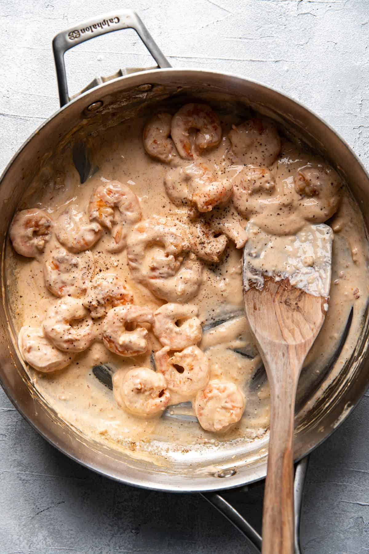 bang bang shrimp in a saute pan.