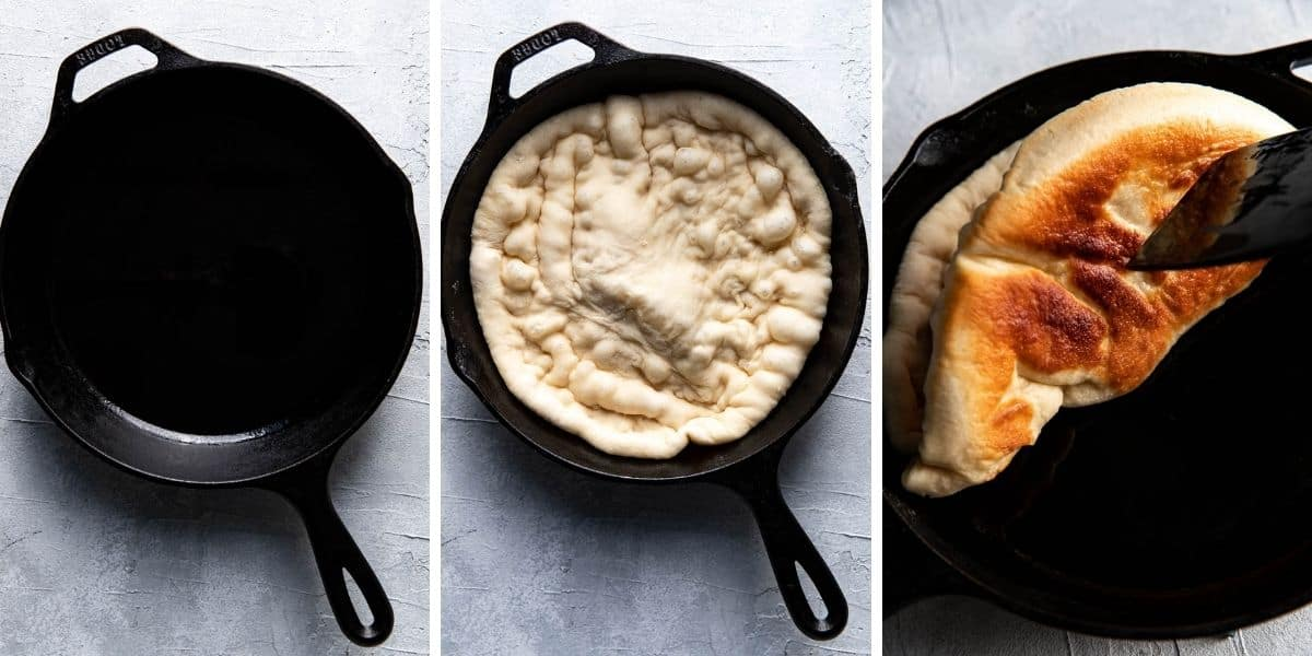 gallery of 3 images showing how to make cast iron skillet pizza.