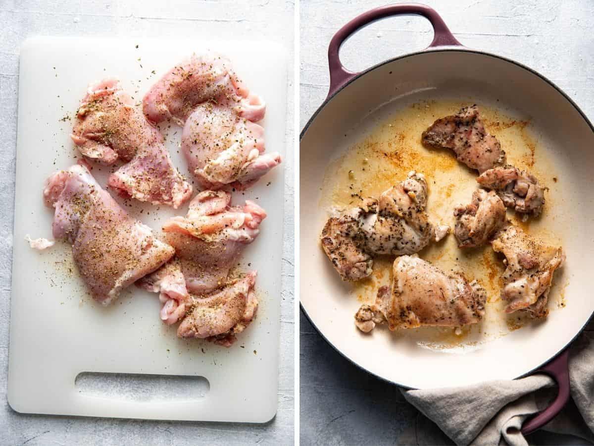 picture collage chicken with greek seasoning before and after being cooked.