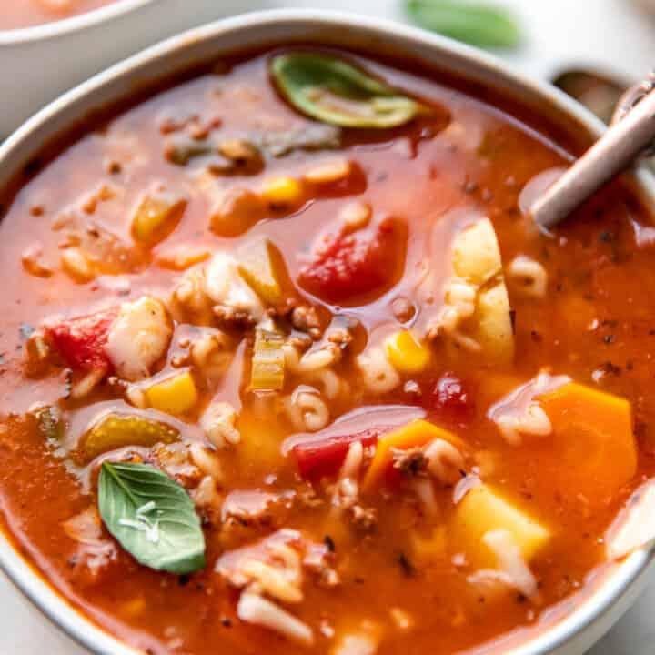 alphabet soup in a bowl.