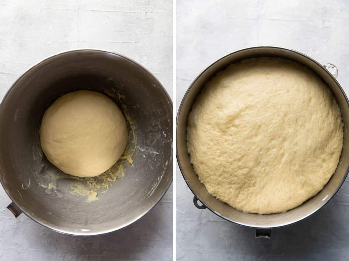 overnight cinnamon rolls dough rising.