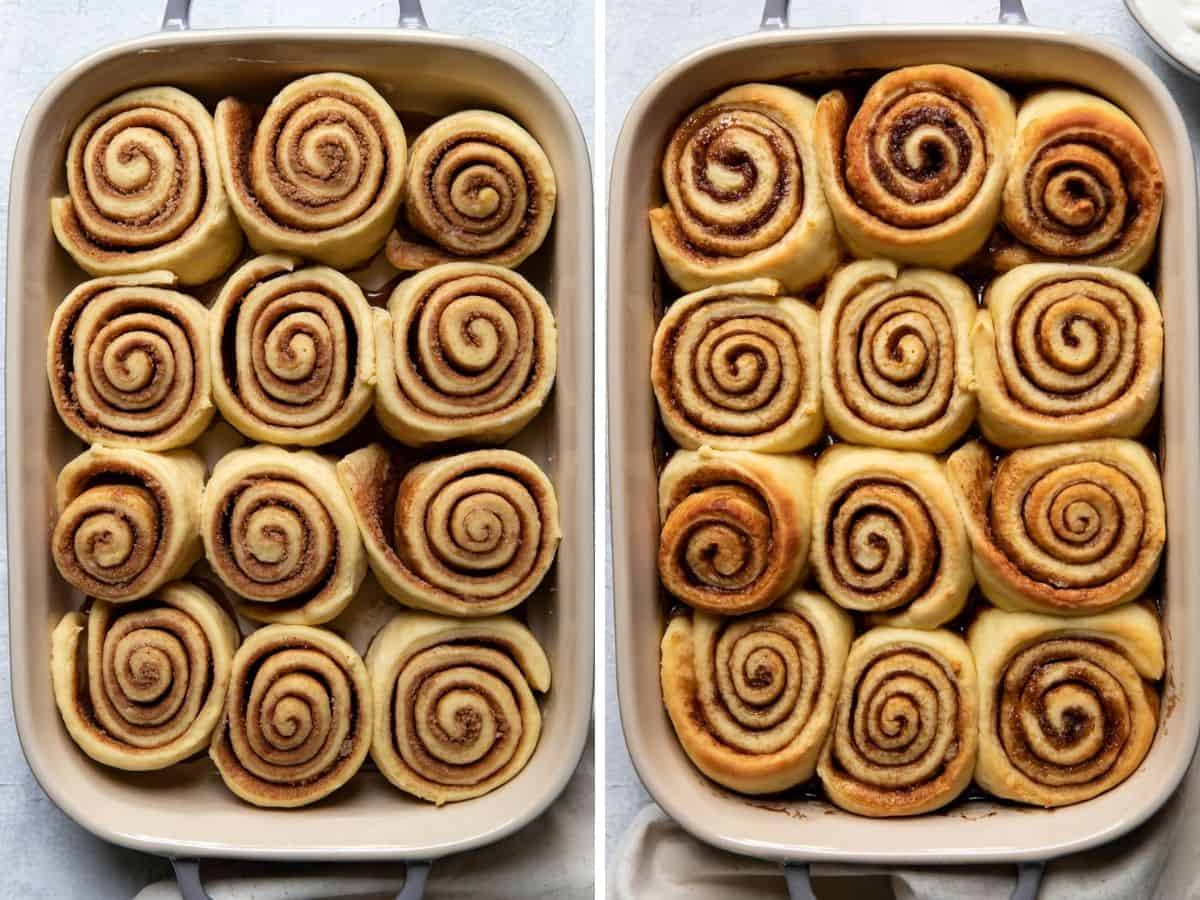 overnight cinnamon rolls in a baking dish, before and after cooking.