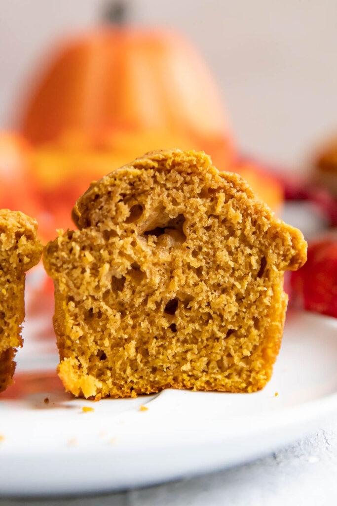 pumpkin muffin cut in half.