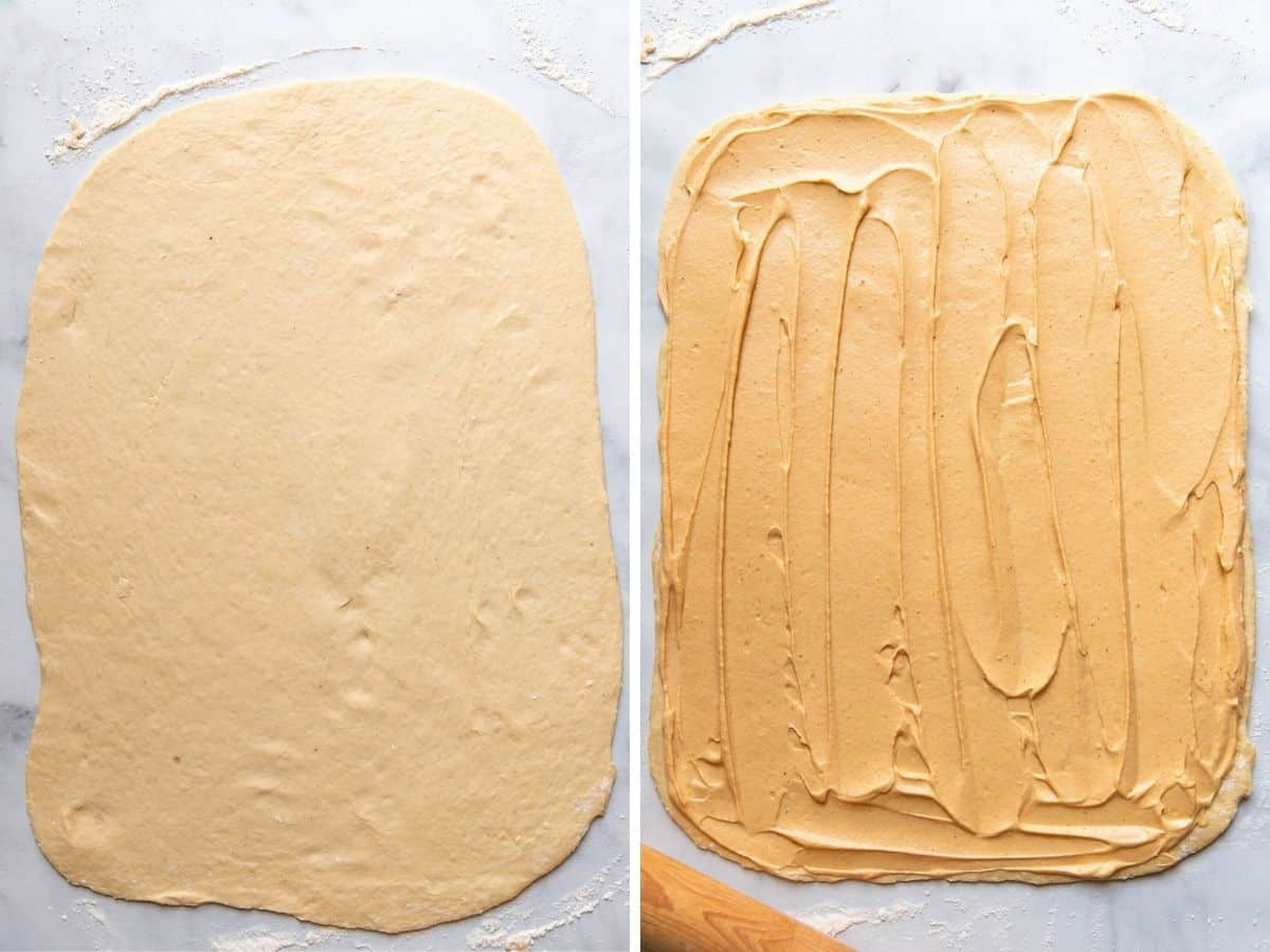 dough rolled out and with filling.